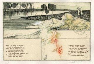 アルフォンス・イノウエ 銅版画作品「小曲 –クリスティーナ・ロセッティーへ–」サイン入り