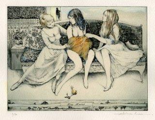 アルフォンス・イノウエ 銅版画作品「女友達(9)   P.ヴェルレーヌへ」サイン入り