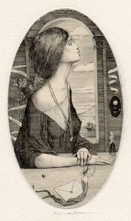 アルフォンス・イノウエ 銅版画作品「あきらめ アリス・メイネルへ」サイン入り