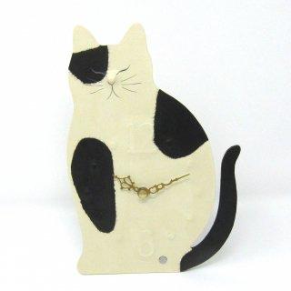 ひだまりのら 置・掛け兼用時計 白黒 手漉き和紙クラフト 猫の時計