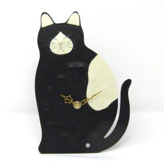 ひだまりのら 置・掛け兼用時計 黒白 手漉き和紙クラフト 猫の時計