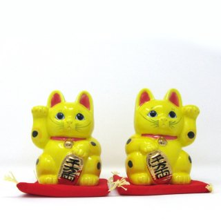 まねき猫 大 日本製 開運・大吉 貯金箱 黄色 染付 本金焼付