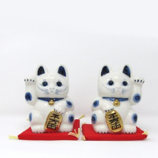 まねき猫 大 日本製 開運・大吉 貯金箱 白色 染付 本金焼付
