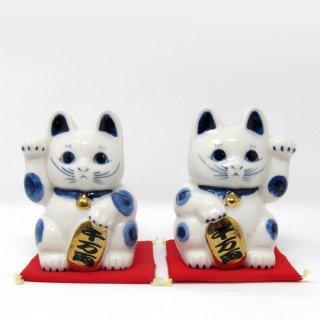 まねき猫 中 日本製 開運・大吉 貯金箱 白色 染付 本金焼付