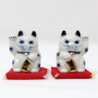 まねき猫 小 日本製 開運・大吉 貯金箱 白色 染付 本金焼付