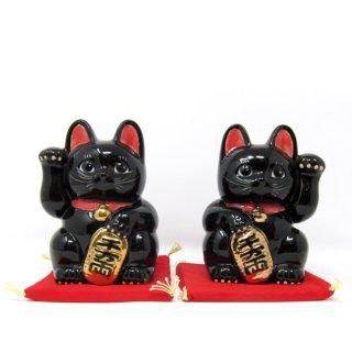 まねき猫 大 日本製 開運・大吉 貯金箱 黒色 染付 本金焼付