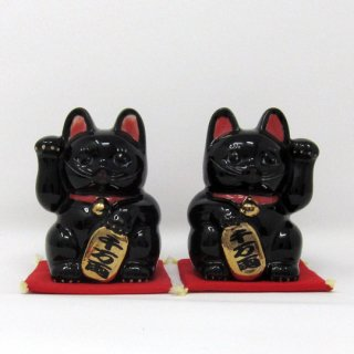 まねき猫 中 日本製 開運・大吉 貯金箱 黒色 染付 本金焼付
