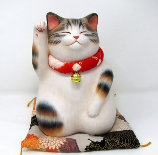 もりわじん作品 通まねぎ猫 キジトラブチ 右手上げ 一点もの