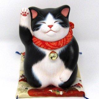 もりわじん作品 ふるふく猫 ハチワレ黒白 右手上げ 1点もの