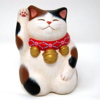 もりわじん作品 招福猫 ふく猫 右手上げ ミケ猫