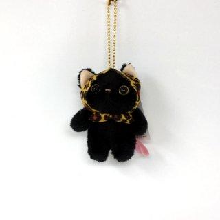 猫のぬいぐるみ chocho(チューチュー)本舗 レオパードずきん黒 マスコット