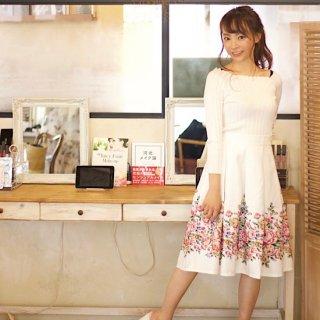フラワーガーデンボンディングスカート (white)