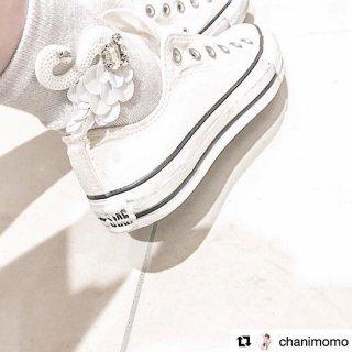 コットンスワンソックス / white × silver lame