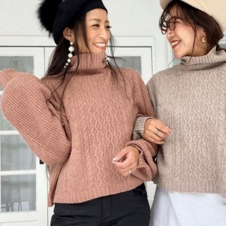 アームリブハイネックセーター