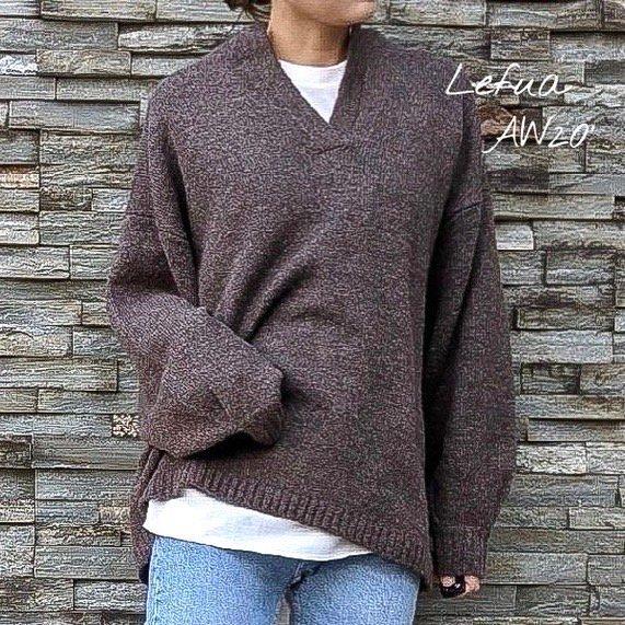 fuwafuwaキーネックニットセーター
