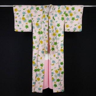小紋 楓 総絞り 裄丈63cm