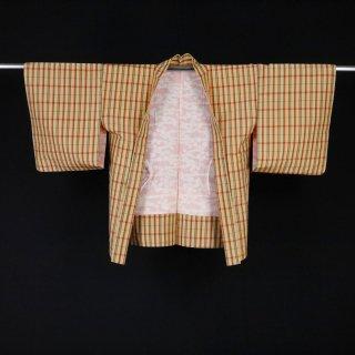 羽織 格子 大島調 裄丈65cm