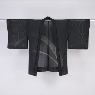 夏羽織 黒羽織 部分レース 絽 裄丈62.5cm