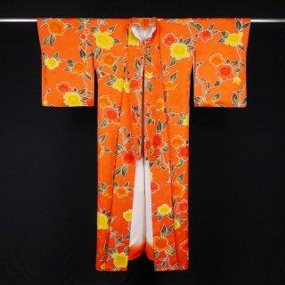 小紋 花模様 裄丈66.5cm