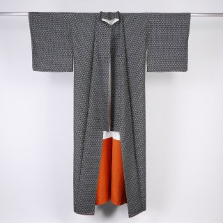 小紋 紬 幾何文様 裄丈65.5cm