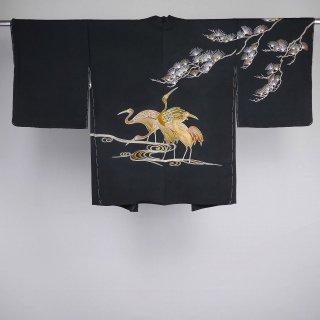 黒絵羽織 未着用品 鶴 松 流水 裄丈67cm