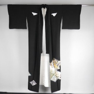 黒留袖 兎亀 向い鶴 裄丈71.5cm