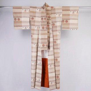 紬 糸車に糸巻き 裄丈62.5�