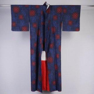 紬 タテヨコ絣 裄丈65�