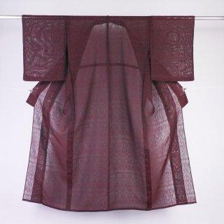 単衣 紋紗 アラベスク文様 裄丈63.5�