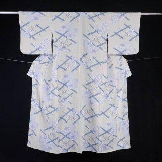 単衣 井桁文に牡丹と楓 裄丈70�