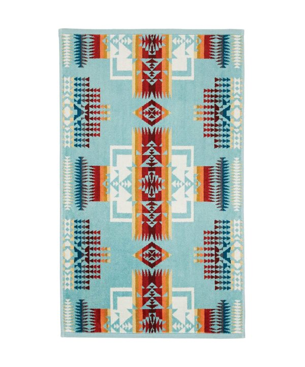 JACQUARD HAND TOWELS/CHIEF JOSEPH AQUA