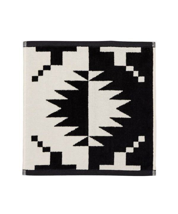 JACQUARD WASH CLOTH/SPIDER ROCK BLACK / WHITE