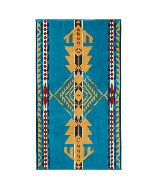 OVERSIZED JACQUARD TOWEL/EAGLE GIFT TURQUOISE 【PENDLETON OFFICIAL】