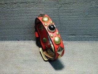 スタッズブレスレット/UKサドルレザー・RED