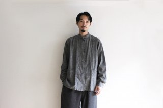 CP GATHER  SHIRTS-CHAMBRAY(BLACK)