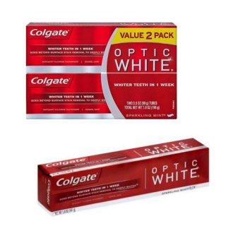 2本セット おまけ1本(141g)付き!<BR>コルゲート オプティック ホワイト 99g<br>Colgate Optic White Sparkling Mint Toothpaste