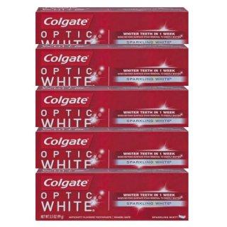 5本セット コルゲートオプティック ホワイトミント 【130g】<BR>Colgate Optic White Sparkling Mint Toothpaste ホワイトニング歯磨き粉