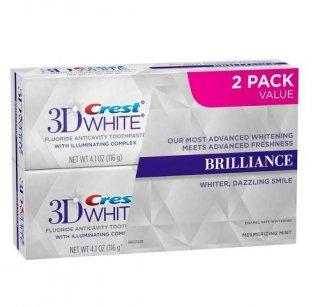 2本セット クレスト 3Dホワイト ブリリアンスミント 【116g】 <BR>Crest 3D White Brilliance Mint ホワイトニング歯磨き粉研磨剤不使用