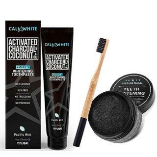 オーガニック ココナッツオイル 炭歯磨き粉・チャコールパウダー・バンブー歯ブラシセット<br>CALI WHITE ACTIVATED CHARCOAL&COCONUT TOOTHPASTE