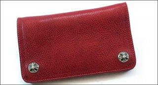 クロムハーツ 財布(Chrome Hearts)1ジップ クロスボタン レッド ヘビーレザーウォレット【クロム・ハーツ】【クロムハーツ財布】【名古屋】