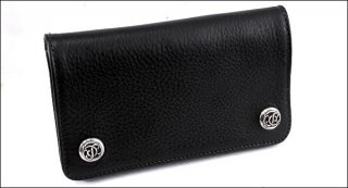 クロムハーツ 財布(Chrome Hearts)ウォレット 1ジップ フローラルボタン ブラック ヘビーレザー(クロム・ハーツ)