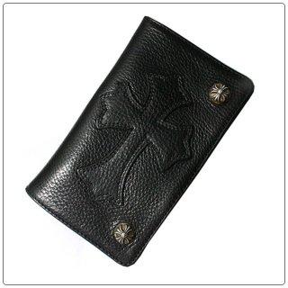クロムハーツ 財布(Chrome Hearts)1ジップ クロスボタン セメタリーパッチブラック ヘビーレザーウォレット(クロム・ハーツ)