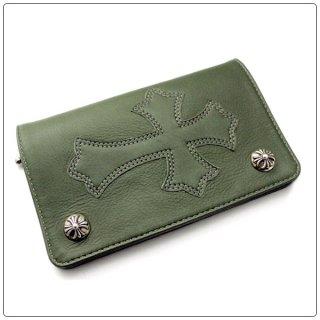 クロムハーツ 財布(Chrome Hearts)1ジップ クロスボタン セメタリーパッチダークグリーン ライトレザーウォレット【クロム・ハーツ】【クロムハーツ財布】【名古屋】