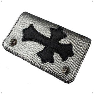 クロムハーツ 財布(Chrome Hearts)1ジップ クロスボタン セメタリーパッチ シルバー/ブラック レザーウォレット【クロム・ハーツ】【クロムハーツ財布】【名古屋】