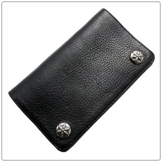 クロムハーツ 財布(Chrome Hearts)1ジップ スターボタンズブラック ヘビーレザーウォレット(クロム・ハーツ)