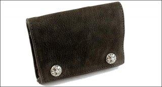 クロムハーツ 財布(Chrome Hearts)3フォールド クロスボタンズブラック デストロイレザーウォレット【クロム・ハーツ】【クロムハーツ財布】【名古屋】