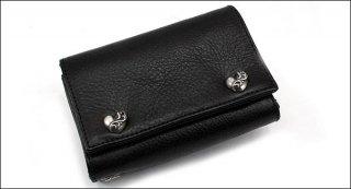クロムハーツ 財布(Chrome Hearts)3フォールド ハートボタン ブラック ヘビーレザーウォレット(クロム・ハーツ)