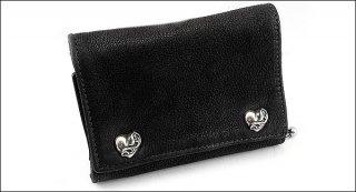 クロムハーツ 財布(Chrome Hearts)3フォールド ハートボタン ブラック デストロイ レザーウォレット【クロム・ハーツ】【クロムハーツ財布】【名古屋】