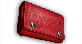 クロムハーツ 財布(Chrome Hearts)3フォールド ハートボタン レッド ヘビー レザーウォレット【クロム・ハーツ】【クロムハーツ財布】【名古屋】