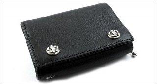 クロムハーツ 財布(Chrome Hearts)3フォールド BSフレアボタン ブラック ヘビーレザーウォレット(クロム・ハーツ)